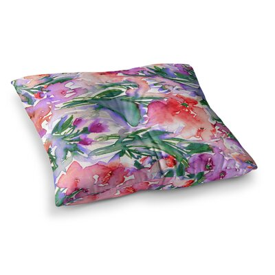 Floral Destiny by Ebi Emporium Floor Pillow Size: 23 x 23, Color: Red/Green/Purple