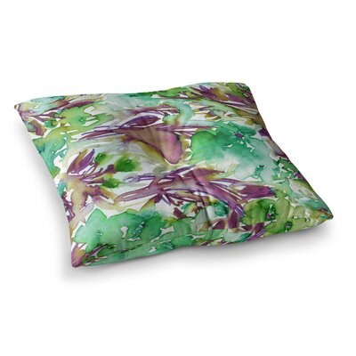 Floral Destiny by Ebi Emporium Floor Pillow Size: 23 x 23, Color: Green/Purple