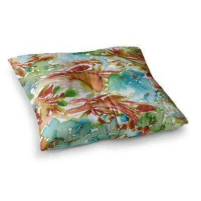 Floral Destiny by Ebi Emporium Floor Pillow Size: 23 x 23, Color: Orange/Teal