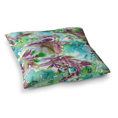 Floral Destiny by Ebi Emporium Floor Pillow Size: 23 x 23, Color: Teal