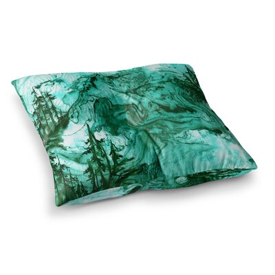 Anything Worth Having, Mixed Media by Ebi Emporium Floor Pillow Size: 26 x 26, Color: Green/Blue