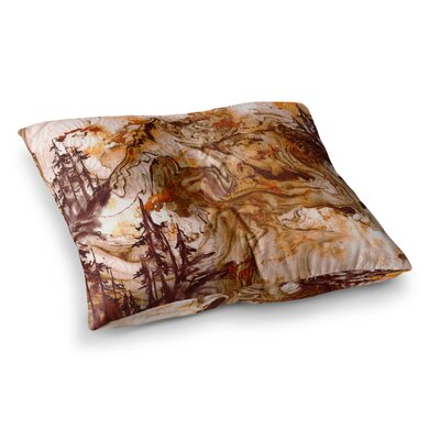 Anything Worth Having, Mixed Media by Ebi Emporium Floor Pillow Size: 26 x 26, Color: Orange/Brown
