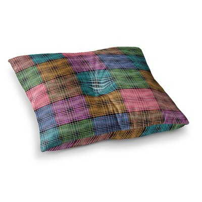 The Patchwork Tartan by Ebi Emporium Floor Pillow Size: 23 x 23, Color: Teal/Pink