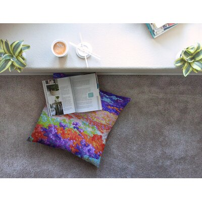 Earthly Delights Floral Abstract by Jeff Ferst Floor Pillow Size: 23 x 23