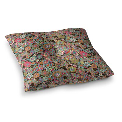 My Butterflies and Flowers by Julia Grifol Floor Pillow Size: 26 x 26, Color: Brown