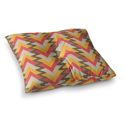 My Triangles by Julia Grifol Floor Pillow Size: 26 x 26, Color: Red/Orange/Brown