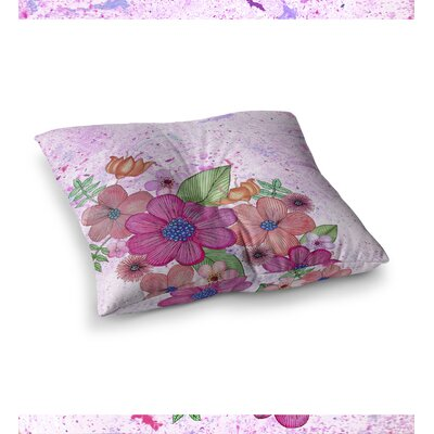 My Garden Floral by Julia Grifol Floor Pillow Size: 26 x 26