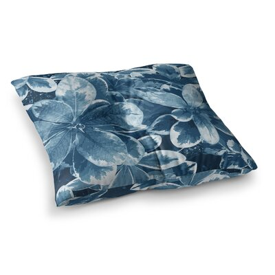 Leaves Floral by Julia Grifol Floor Pillow Size: 26 x 26, Color: Blue