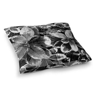 Leaves Floral by Julia Grifol Floor Pillow Size: 23 x 23, Color: Gray/Black
