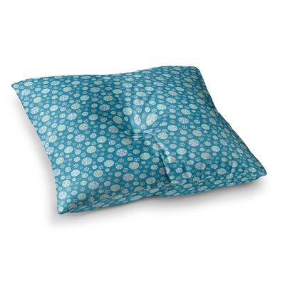 Snowflake by Julie Hamilton Floor Pillow Size: 23 x 23, Color: Sky Blue