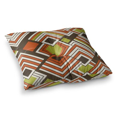 Luca by Jacqueline Milton Floor Pillow Size: 26 x 26, Color: Orange/Brown