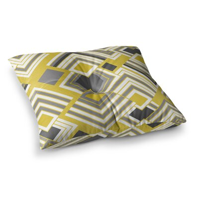 Luca by Jacqueline Milton Floor Pillow Size: 26 x 26, Color: Yellow/Gray