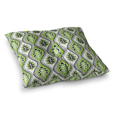 Leaf Floral by Jacqueline Milton Floor Pillow Size: 23 x 23, Color: Lime/Green