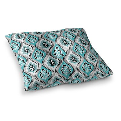 Leaf Floral by Jacqueline Milton Floor Pillow Size: 23 x 23, Color: Blue/Turquoise