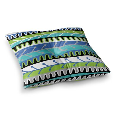 Salsa by Jacqueline Milton Floor Pillow Size: 26 x 26, Color: Green/Aqua/Blue