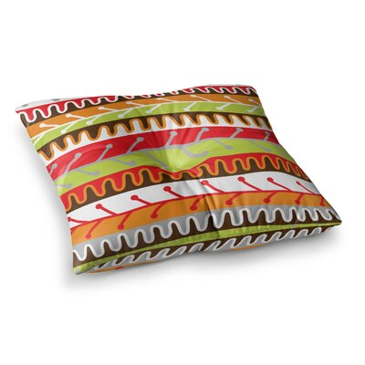 Salsa by Jacqueline Milton Floor Pillow Size: 23 x 23, Color: Red/Orange/Yellow