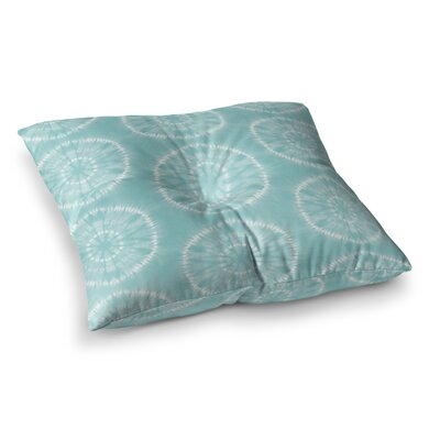 Shibori Circles Pastel Mixed Media by Jacqueline Milton Floor Pillow Size: 23 x 23, Color: Aqua/Teal