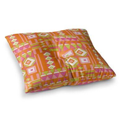 Heatwave Illustration by Jacqueline Milton Floor Pillow Size: 23 x 23, Color: Pink/Orange