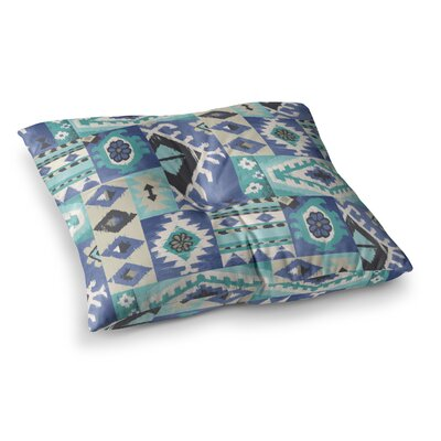 Tribal Patch Painting by Jacqueline Milton Floor Pillow Size: 23 x 23, Color: Teal/Blue