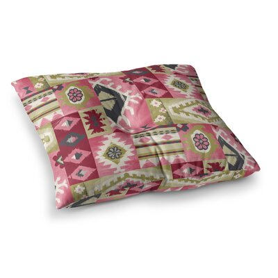Tribal Patch Painting by Jacqueline Milton Floor Pillow Size: 23 x 23, Color: Pink/Red/Green