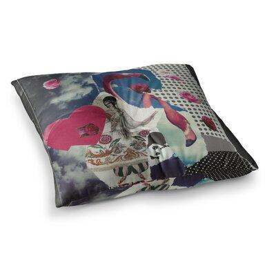 Flamingo Attack Pop Art by Jina Ninjjaga Floor Pillow Size: 26 x 26