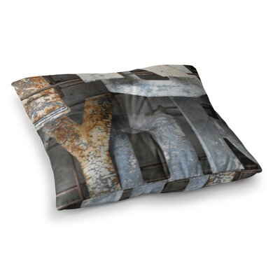 Patina Letters by Jennifer Rizzo Floor Pillow Size: 23 x 23