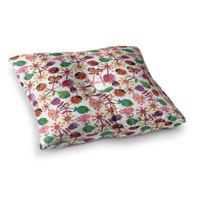 Garden Floral Plants Bugs by Jane Smith Floor Pillow Size: 23 x 23