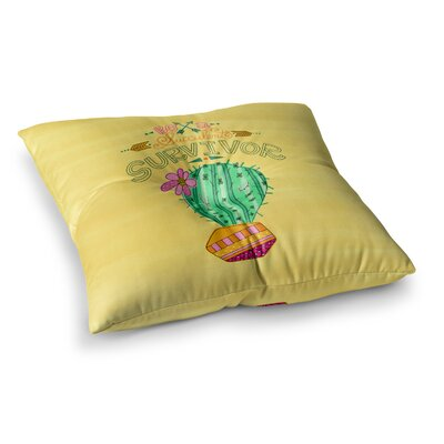 Be a Succulent Survivor Illustration by Jane Smith Floor Pillow Size: 26 x 26