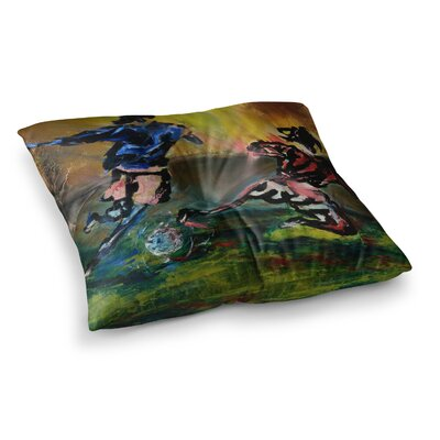 Slidetackle Soccer by Josh Serafin Floor Pillow Size: 23 x 23