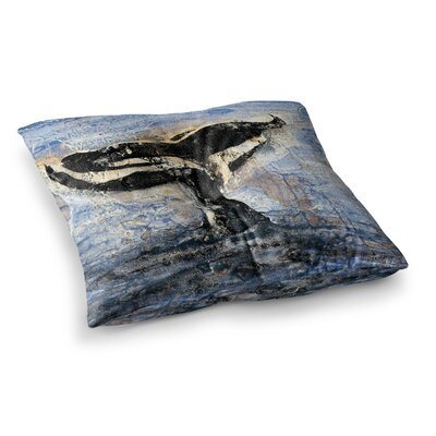 Whale Tail Painting by Josh Serafin Floor Pillow Size: 23 x 23