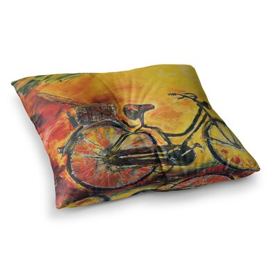 To Go Bicycle by Josh Serafin Floor Pillow Size: 23 x 23