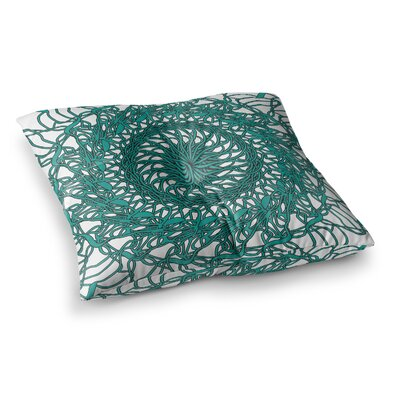 Mandala Spin by Patternmuse Floor Pillow Size: 26 x 26, Color: Green