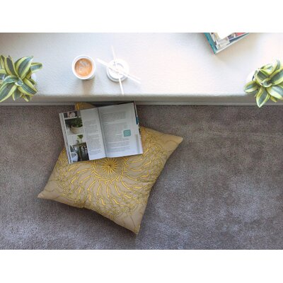 Mandala Spin Latte by Patternmuse Floor Pillow Size: 26 x 26
