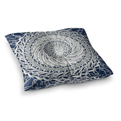 Mandala Spin by Patternmuse Floor Pillow Size: 26 x 26, Color: Blue/White/Navy