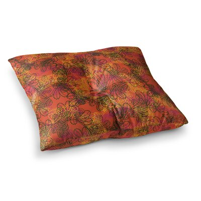 Jaipur by Patternmuse Floor Pillow Size: 23 x 23, Color: Red/Orange