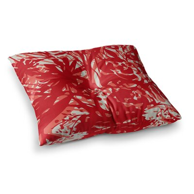Inky Floral Peony Illustration by Patternmuse Floor Pillow Size: 26 x 26, Color: Red/Coral
