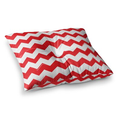 Candy Cane Chevron Floor Pillow Size: 26 x 26, Color: Red