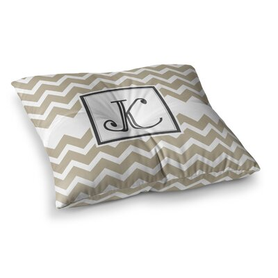 Monogram Chevron Floor Pillow Size: 26 x 26, Color: Tan