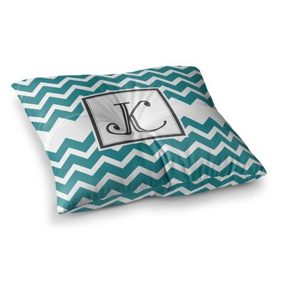 Monogram Chevron Floor Pillow Size: 26 x 26, Color: Teal