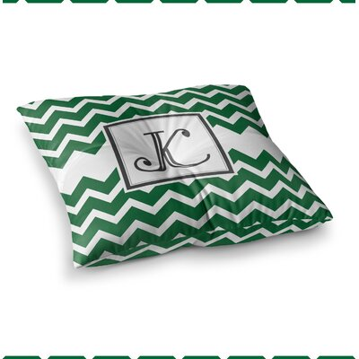 Monogram Chevron Floor Pillow Size: 23 x 23, Color: Green
