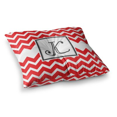 Monogram Chevron Floor Pillow Size: 26 x 26, Color: Red