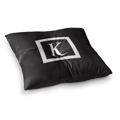 Monogram Solid Floor Pillow Size: 23 x 23, Color: Black