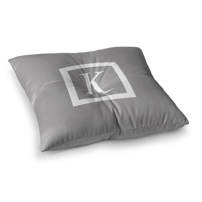 Monogram Solid Floor Pillow Size: 26 x 26, Color: Gray