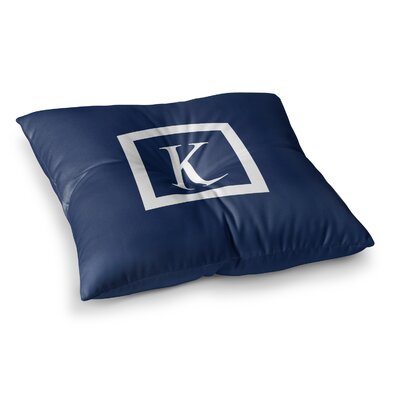Monogram Solid Floor Pillow Size: 26 x 26, Color: Navy
