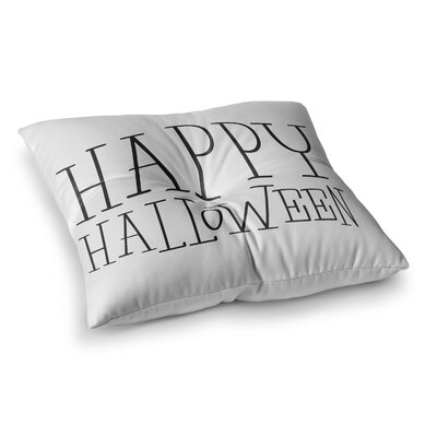 Happy Halloween Floor Pillow Size: 23 x 23, Color: White