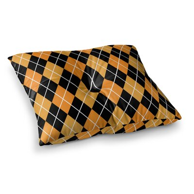 Argyle Floor Pillow Size: 26 x 26, Color: Mustard/Black