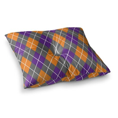 Argyle Floor Pillow Size: 23 x 23, Color: Purple/Gray/Orange