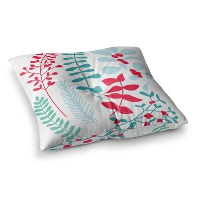 Deck the Hollies Floor Pillow Size: 23 x 23, Color: Red/Teal