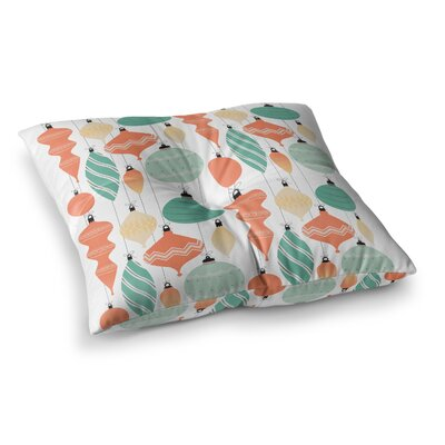 Mixed Ornaments Floor Pillow Size: 26 x 26, Color: Orange/Teal