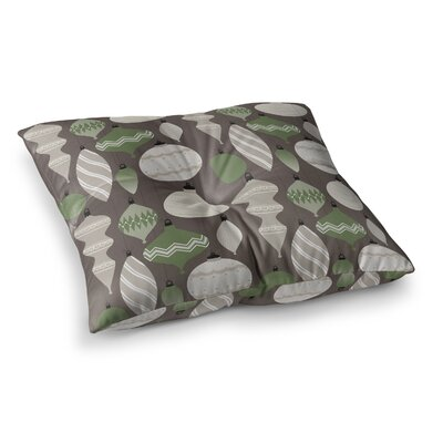 Mixed Ornaments Floor Pillow Size: 26 x 26, Color: Green/Brown/Gray